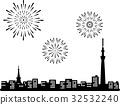 스카이 트리와 도쿄 타워와 불꽃 실루엣 32532240