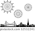 Tokyo Tower and Rainbow Bridge and Fireworks Silhouette 32532241