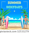 Summer poster for holidays with surfers and sea 32533279