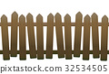 Old Unsteady Crooked Wooden Fence 32534505