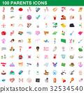 100 parents icons set, cartoon style 32534540