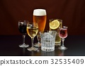 Image of alcoholic drink. Caution) Transparent liquid is water. Red wine, white wine, beer, shochu, highball. 32535409