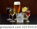 Image of alcoholic drink. Caution) Transparent liquid is water. Red wine, white wine, beer, shochu, highball. 32535410