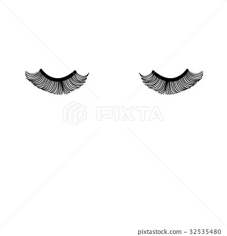 Vector closed eyes with eyelashes 32535480
