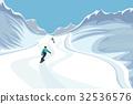 mountain, vector, snowboarder 32536576