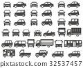 正面和側面的簡單車(灰色輪廓) 32537457