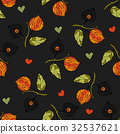 Seamless autumn vector pattern with physalis. 32537621