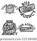 Color vintage tour agency emblems 32538488