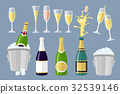 Champagne bottle and glasses set of cartoon vector 32539146