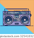 Line flat vector icon with retro electrical audio 32541032