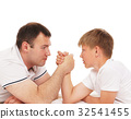 Father and son armwrestling isolated on white 32541455
