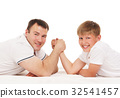 Father and son armwrestling isolated on white 32541457