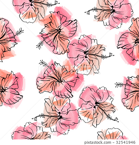 Hand drawn vector seamless pattern of hibiscus  32541946