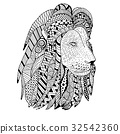 Lion head hand drawn. Doodle. Object isolated 32542360