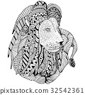 Lion laing hand drawn. Doodle. Object isolated 32542361
