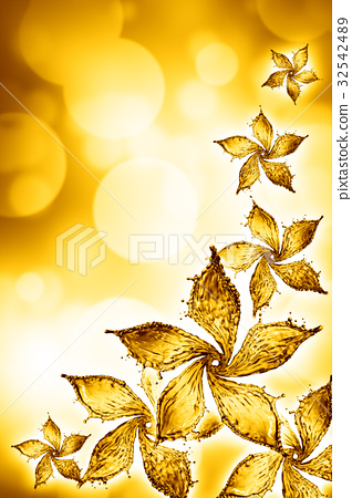 flower made of water splash of yellow color 32542489