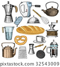 Grater and whisk, frying pan, Coffee maker or 32543009