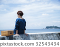 海洋女性旅遊觀光短途步行步行女性旅行獨自旅行 32543434