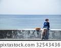 海洋女性旅遊觀光短途步行步行女性旅行獨自旅行 32543436