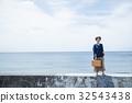 海洋女性旅遊觀光短途步行步行女性旅行獨自旅行 32543438