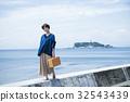 海洋女性旅遊觀光短途步行步行女性旅行獨自旅行 32543439