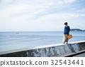 海洋女性旅遊觀光短途步行步行女性旅行獨自旅行 32543441
