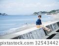 海洋女性旅遊觀光短途步行步行女性旅行獨自旅行 32543442