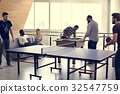 People break playing table tennis relax 32547759