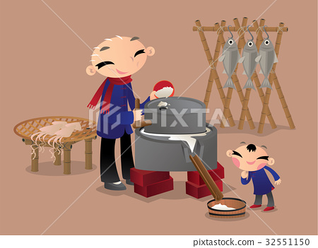 A Chinese man using millstone to grind grains 32551150