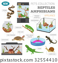 Pet reptiles appliance icon set flat style  32554410