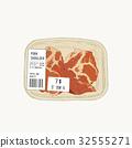 raw pork shoulder in pack, sketch vector. 32555271