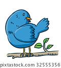 Cartoon bird on branch - Vector illustration 32555356