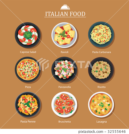 Set of italian food flat design. Vector background 32555646