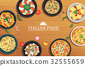Italian food on a wooden table background.  32555659