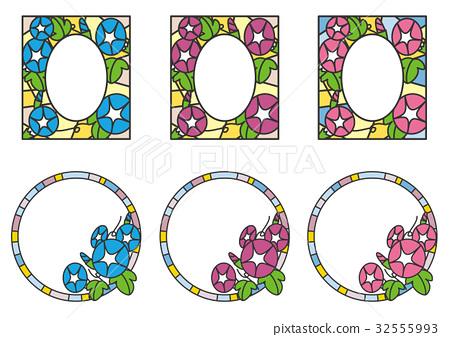 牽牛花 彩色玻璃 框架 32555993