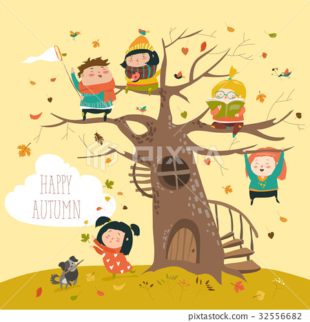 Happy children sitting on tree in autumn park 32556682