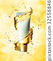 White cream bottle mock up of water splash golden 32556846