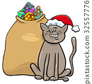 cat with Christmas presents cartoon 32557776