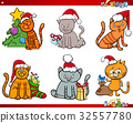cat characters on Christmas cartoon set 32557780