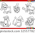 cartoon dogs on Christmas set coloring book 32557782