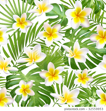 Seamless exotic pattern with tropical leaves and 32559953