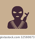Terrorist in balaclava mask, icon 32560673