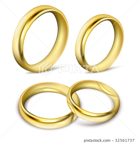 Set of realistic vector illustrations of gold 32561737