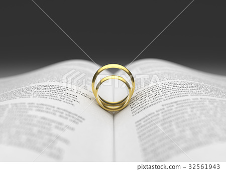 Wedding ring on the book page.  32561943