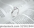 Wedding ring on the book page.  32561944