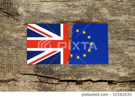 Brexit concept, half of EU and Great Britain flags 32562630
