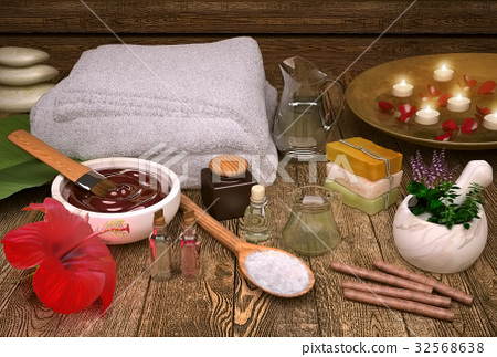 Spa, still, life, with, candles, spa, products 32568638