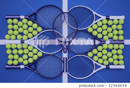 Sporty, tennis, rackets, with, balls, on, blue 32568639