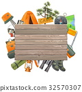 Vector Camping Concept with Wooden Plank 32570307