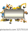 Vector Construction Frame with Bulldozer Shovel 32570310